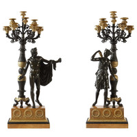 Large Pair of Bronze Candelabra, French Empire, circa 1820