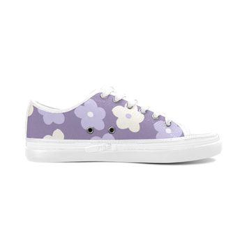 Purple Floral Theme White Women's Nonslip Canvas Shoes