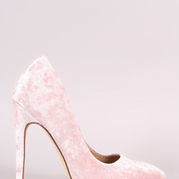 Liliana Crushed Velvet Pointy Toe Stiletto Pump