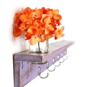 Wood shelf Shabby chic furniture coat hanger Purple by OldNewAgain