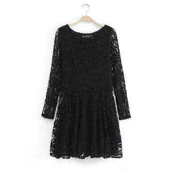 Summer Plus Size Slim Long Sleeve Lace Embroidery Skirt One Piece Dress [4917880132]