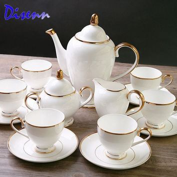 Special Offer Quality Coffee & Tea Sets Bone China 15 Piece Drinkware British Gold Inlaid White Ceramics Cups