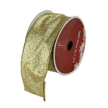 """Pack of 12 Sparkling Solid Gold Wired Christmas Craft Ribbon Spools - 2.5"""" x 120 Yards Total"""