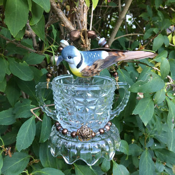 Recycled Glass Bird Feeder, Hanging Garden Art, Dish Feeder, Repurposed Yard Art, Hanging Planter, Candle Holder, Sun Catcher, Gift Idea Her
