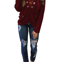Sportwear Winter Autumn Bandage Shirts Hoodies Long Sleeve Sexy Lace Up Tops Pullovers Women Top Deep V-neck Sweatershirts LX112