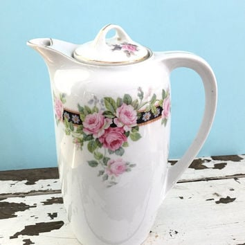 Antique Chocolate or Coffee Pot, Antique Server, Coffee Server, Vintage China, Bridal Shower Tea, Shabby Chic Decor, Pink