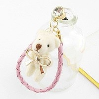 Earphone Jack Accessory Gold Plated Bow Beige Collar / Dust Plug / Ear Jack For Iphone 4 4S / iPad