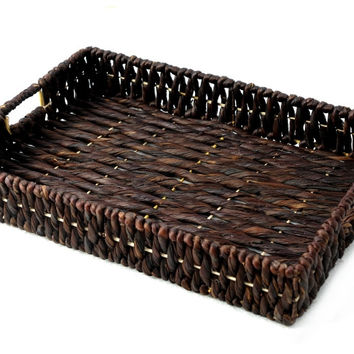 Agnes water hyacinth low baskets, Medium