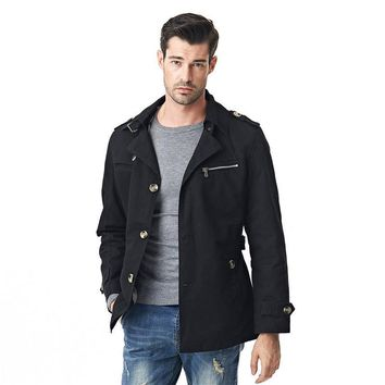 New Men Jacket Fashion Autumn British Style Solid Color Black Outerwear & Coat Male Military Jackets