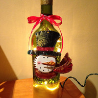Snowman wine bottle lamp, Christmas wine bottle lamp, accent lamp