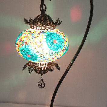 Handmade mosaic lamp with hand crafted copper base, Table lamp, Decorative lamp, Bedside night table lamp, Desk lamp, Housewarming gifts