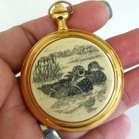 Vtg Colibri Pocket Watch Quartz Duck Scene Gold Tone Full Hunter Japan Movt