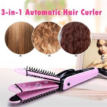 #Bravo5# 3-in-1 Automatic Hair Curler Roller Hair Curling Iron Machine Hair Straightener US Plug