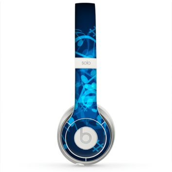 The Glowing Blue Music Notes Skin for the Beats by Dre Solo 2 Headphones