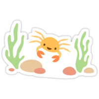 Cute kawaii crab and seaweed under the sea stickers