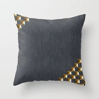 Denim with Gold Studs Throw Pillow by All Is One | Society6