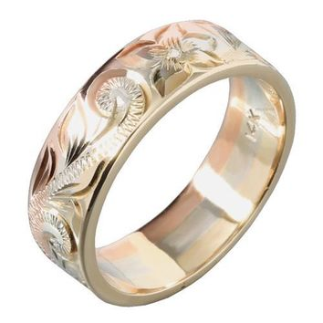 Hawaiian Scroll and Honu Engraving Heirloom Ring 14K Tri-gold Made 6mm