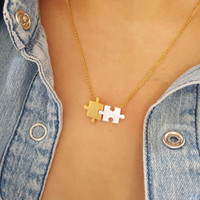 Small Puzzle Necklaces Puzzle Piece Necklace / Choose color 18k Gold Silver Everyday Geometric Jewelry
