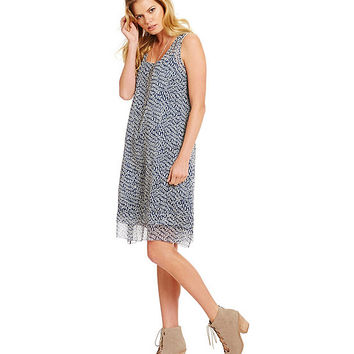 Eileen Fisher Ellipsis Printed Crinkle Silk Dress | Dillards
