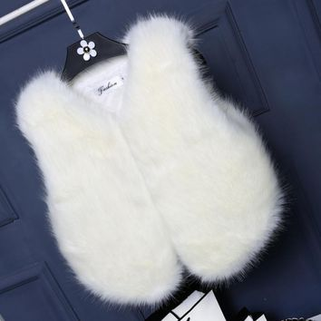 Women Lady Vest Sleeveless Coat Faux Fur Outerwear Long Hair Jacket Waistcoat