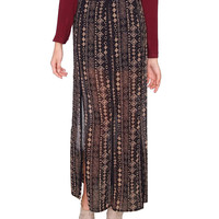 Out Of Island Maxi Skirt - Black Print