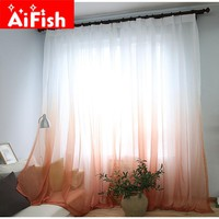 Curtains Color Gradient Terilun Tulle Window Screen Sheer Panels Romantic Wedding Decor Curtain For Living Room Bedroom AP185-3