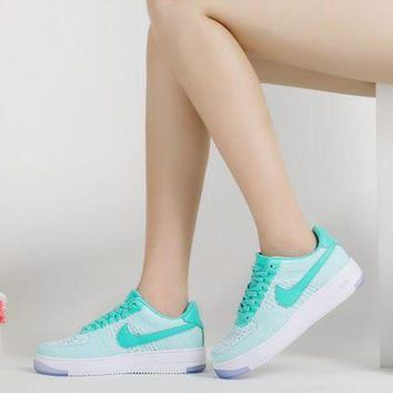 PEAPON Originals Nike Air Force One 1 Flyknit Low Green / White Women Running Sport Casual Shoes '07 820256-300 Sneakers