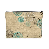 Dandelion Bag   Cosmetic Bag  Zipper Pouch  Coin Purse  Bridesmaid Clutches Carry All Pouch  Flat