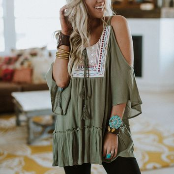 Catch A Glimpse Embroidered Top - Olive