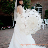 Bridal Ivory Beige Wedding Lace Umbrella Floral Parasol for Wedding Party Decoration Photography Props Bridesmaid Gifts