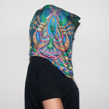 Festival Hood - Reversible with Chain - Official Chris Dyer - Galaktic Alchemist - Optical Illusion