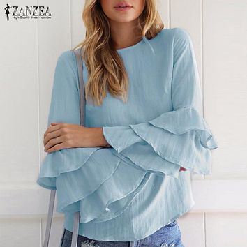 Oversized 2017 ZANZEA Women Elegant Blouses Shirts Ladies O Neck Flounce Long Sleeve Solid Blusas Tops Casual Loose Pullovers