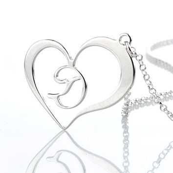 Sterling Silver Heart Necklace with Single Initial