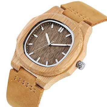 Special Nature Wood Watches for Men Quadrilateral Shape Genuine Leather Leisure Sport Wooden Wristwatches Man Husband Gifts