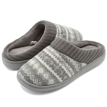 ONETOW CIOR FANTINY Women's Memory Foam House Slippers Sweater Knit Embroidered Pattern and Ribbed Hand-Knit Collar
