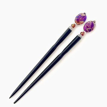 Petra Hair Sticks (Set of 2) - Purple