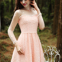 Meat Orange Pink Crochet and Lace Mini Dress