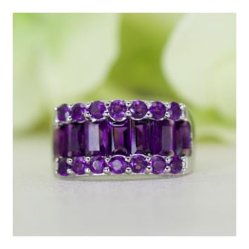 Natural Amethyst Wide Band Cocktail Ring in Sterling Silver