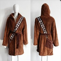 2017 New Star Wars Cosplay Brown Bath Robe Bathrobe Cloak Mantle Cape Hoodie Chewbacca Cosplay Halloween Costume Free Shipping