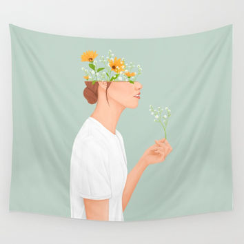 Flower Head Wall Tapestry by marylobs