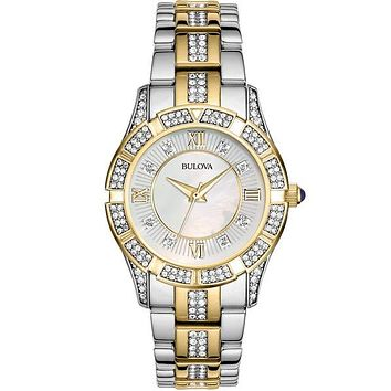 Bulova Ladies Crystal Two-Tone Sport Watch - White Mother-of-Pearl Dial