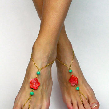 Mint Green and Coral Barefoot Sandals Flower Bare foot Sandals Anklet Foot Jewelry Mint Green Sandal Coral Jewelry Gypsy Sandals Foot thong