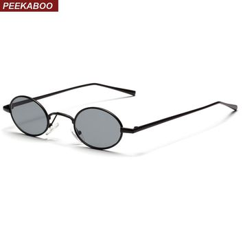 Peekaboo black small oval sunglasses women retro 2018 metal frame yellow red lens round vintage sun glasses for men uv400