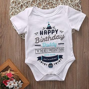 2017 Adorable New Newborn Infant Baby Girl Boy Romper Jumpsuit Birthday Party Clothes