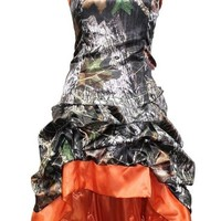 MILANO BRIDE Chic Camo Prom Party Dress Short Hi-Lo Strapless Wedding Party Dress-10-Orange