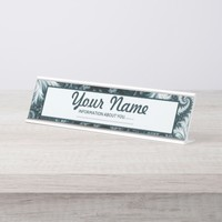 Cyan and white fractal pattern. Add text. Desk Name Plate