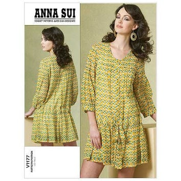 ANNA SUI DRESS & Slip Pattern Vogue 1177 American Designer Women's Misses Petite Sewing Patterns Bust 31.5 32.5 34 36 Size 8 10 12 14 UnCUT