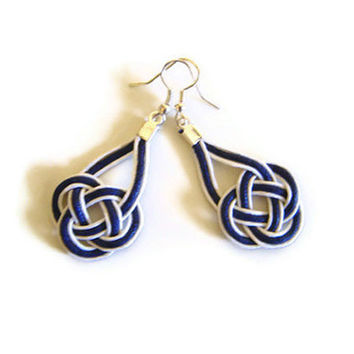 Nautical earrings, macrame, sailor knot, celtic knot, white & navy