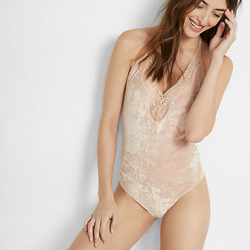 express one eleven lace trim velvet thong bodysuit