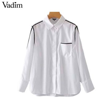 Vadim women oversized white blouse long sleeve turn down collar side striped pocket shirts casual loose chic tops blusas LA714